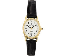 –646544Damen-Armbanduhr–Quarz Analog–Weißes Ziffernblatt–Armband Leder Schwarz