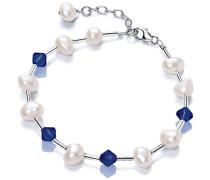 V & Co Navy Blue Crystal Armband Süßwasserperle 18.3- 21,5 cm