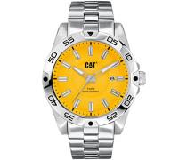 Katze Level 3HD Herren Armbanduhr mit Gelb Zifferblatt Analog-Anzeige und Silber Edelstahl Armband in. 141.11.727