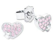 Prinzessin Lillifee Kinder-Ohrstecker Herzen Mädchen 925 Silber rhodiniert Zirkonia rosa 6 mm