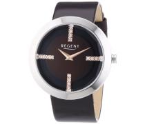 Regent Damen-Armbanduhr XL Analog Quarz Leder 12111102