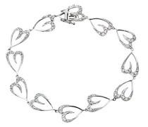 Damen-Ring Verlobungsring 9 Karat (375) Weißgold Diamant Herz Armband 17 cm