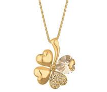 Damen Halskette mit Anhänger Kleeblatt 925 Sterling Silber mit Kristallen von Swarovski vergoldet 45 cm 0102461213