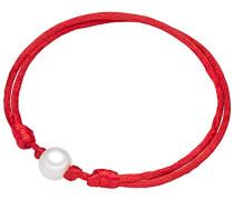 Classic Collection Damen-Armband Hochwertige Süßwasser-Zuchtperlen in ca.  9 mm Oval weiß  Satin rot  18 bis 33 m   60020024