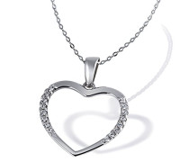 Damen-Halskette 925 Sterlingsilber rhodiniert 16 weiße Zirkonia Kettenanhänger Schmuck