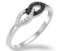 Damen-Ring 750 Weißgold mit weiß und Schwarzen Brillanten