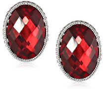 Ohrringe Silber Tone Button Red Oval facettiert