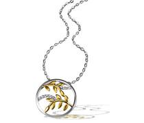 Damen-Halskette golden Bay Leaves 925 Sterlingsilber teilweise gelbvergoldet 11 weiße Zirkonia Kettenanhänger Schmuck