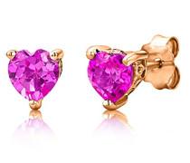 Damen-Ohrstecker 925 Sterling- Silber Herzschliff Pink/Rosa Synthetischer Saphir