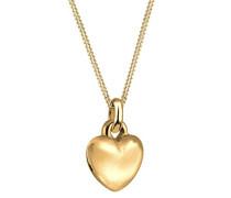 Damen Halskette mit Anhänger Herz 925 Sterling Silber Vergoldet 45 cm