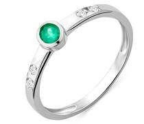 Damen Ring 9 Karat (375) Weißgold Smaragd und Brillanten