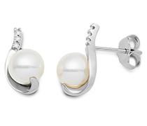 Damen-Ohrringe 18 Karat (750) Weißgold Brillanten mit weiße Süßwasser-Zuchtperlen MG8022E