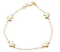 Kinder-Armband 18 Karat (750) Gelbgold Herzen und Brillanten 16cm