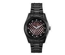 Harley Davidson Damen-Quarzuhr mit schwarzem Zifferblatt Analog-Anzeige und schwarz Edelstahl vergoldet Armband 78l112