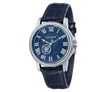Beagle ES-0028-06 Herren-Armbanduhr mit Automatikgetriebe, blaues Zifferblatt mit Skelett-Anzeige, blaues Lederarmband