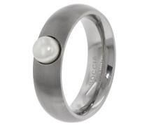 Unisex-Ring Titan mattiert Perle Süßwasser-Zuchtperle Weiß