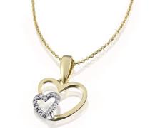Damen-Halskette Herzen Bicolor 375 Gelbgold Herzanhänger