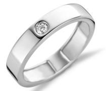 18 Karat (750) Weigold 58 (18.5) Damenring, mit 1 (0,06 cts) Diamant M0421WR