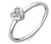 Damen-Ring 375 Weißgold Herz mit Brillanten