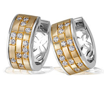 Damen-Creolen 925 Sterlingsilber teilvergoldet mit 26 weißen Zirkonia Ohrringe Schmuck