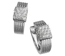 Damen-Creolen Sterling Silver 925 Silber rhodiniert Zirkonia Rundschliff weiß - 368210002