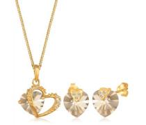 Damen-Set: Halskette + Ohrringe 925 Sterling Silber mit Swarovski Kristallen 45cm gold 0911932613_45