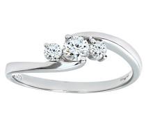 Damen-Ring 9 Karat 375 Bicolor 3 Diamanten