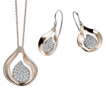 Damen-Set: Halskette + Ohrringe 925 Sterling Silber Zirkonia wei SET-5194
