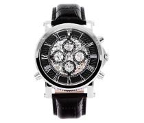 Automatik Armbanduhr von  für Männer mit einem echten Diamanten mit Schwarzem Zifferblatt Analoger Anzeige und Schwarzem Armband aus Leder SK14H032