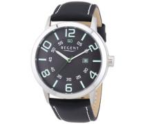 Regent Herren-Armbanduhr XL Analog Quarz Leder 11110659