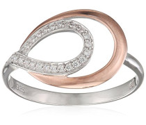 Damen-Ring Silber vergoldet teilvergoldet Zirkonia weiß Brillantschliff