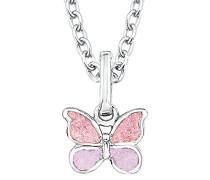 Kinder-Kette mit Anhänger Schmetterling 925 Silber rhodiniert Emaille rosa längenverstellbar