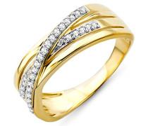 Damen-Ring 9 Karat (375) Gelbgold Diamant 56 (17.8) SA925R6