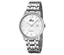 Herren Quarz-Uhr mit weißem Zifferblatt Analog-Anzeige und Silber Edelstahl Armband 18175/2
