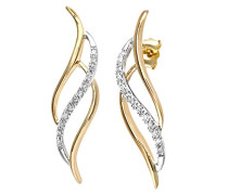 Damen-Ohrhänger 9k Gelb und Weißgold dreifach Swirl Ohrringe 375 Bicolor teilrhodiniert Diamant (0.10 ct) weiß Rundschliff - PE02928YW