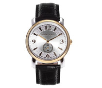 Quartz Armbanduhr von  für Männer mit Original Schweizer Uhrwerk mit Silberfarbenem Zifferblatt Analoger Anzeige und Schwarzem Armband aus Leder BSSM205