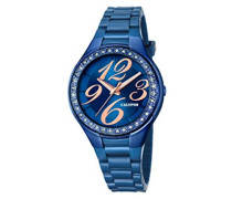 Damen Quarzuhr mit Blau Zifferblatt Analog Display und Blau Armband Kunststoff K5637/A