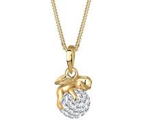 Damen-Halskette 925 Sterling Silber mit Kristallen von Swarovski vergoldet Länge 45cm 0101911012_45