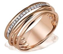 Ring Gold-Farbspiel 585 Rotgold teilrhodiniert Diamant (0.11 ct) Rundschliff weiß