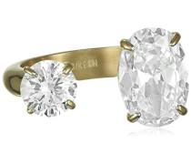 Damen-Ring Edelstahl, vergoldet, Zirkonia transparent