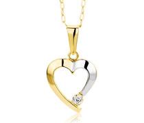 Damen-Halskette Herz 375 Gelbgold 1 Zirkonia farblos 45 cm