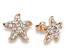 Damen-Ohrstecker Seestern rosévergoldet veredelt mit Swarovski Kristallen
