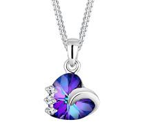 - 925 Sterling-Silber  Silber Rundschliff   blau Cristal