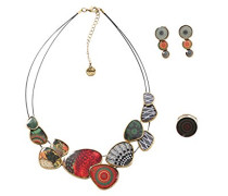 Damen Schmuckset Damen Kette + Ohrringe + Ring Alabama Versilbert