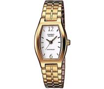 Casio-ltp-1281pg-7a-Classic Damen-Armbanduhr 045J699Analog weiß Armband Stahl vergoldet Gold