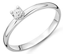 Brillantring für Damen mit Solitär / Zeitlos schöner Ring aus 9 kt. Weißgold mit 0.10ct. Brillanten / In 4 unterschiedlichen Größen erhältlich
