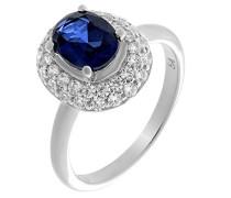 Damen-Halo-Ring Blauer_Zirkonia Ringgröße 56 (17.8) - ZR-7236/SA/56