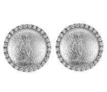 Damen-Ohrstecker 925 Sterling Silber rhodiniert Glas Zirkonia weiß ZO-5201