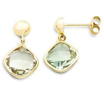 Damen-Ohrringe 9 Karat (375) Gelbgold Amethyst Grün facettiert