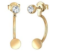 Damen-Ohrstecker Ear Jacket 925 Silber teilvergoldet Kristall gold Brillantschliff - 0301891617